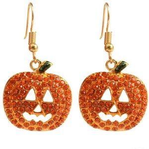 Pumpkin Rhinestone Pierced Dangle Earrings